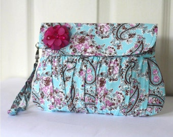 Summer fashion Wristlet Purse Turquoise Blue, Paisley Cotton with Fuchsia beaded flower