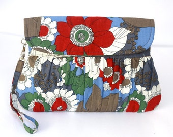 Bridesmaid clutch, bridal clutch, bridesmaid gift, floral red, blue, gray and white