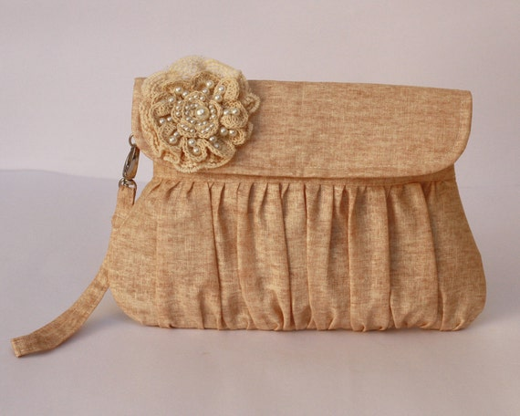 Bridesmaid Clutch Purse caramel color cotton linen with lace and pearl