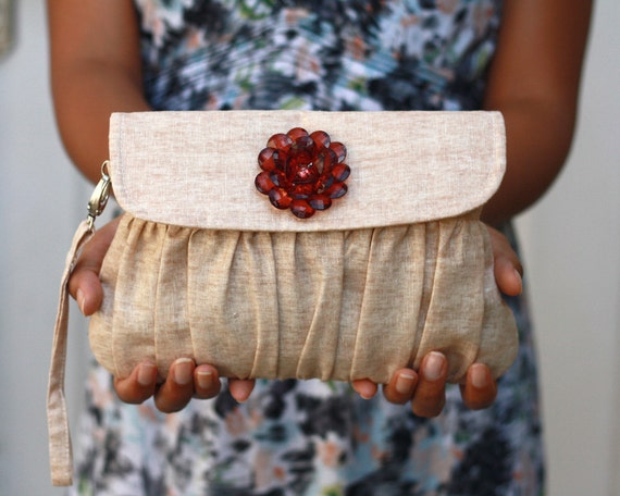 Clutch Purse Linen Caramel with Brown Beaded Flower