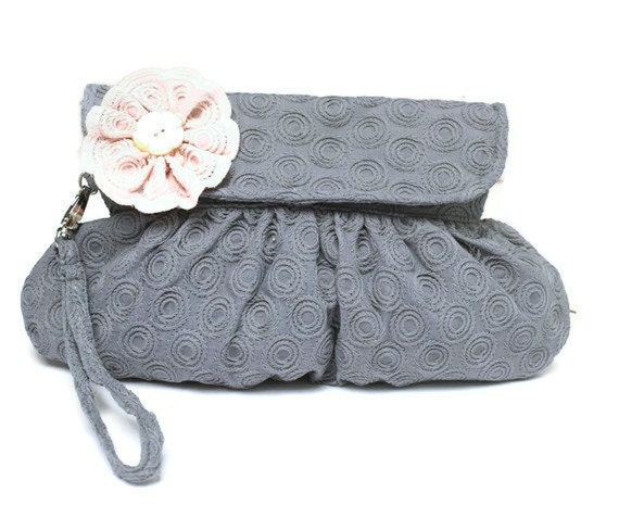 Bridal Clutch Cotton Embroidered Blue Gray