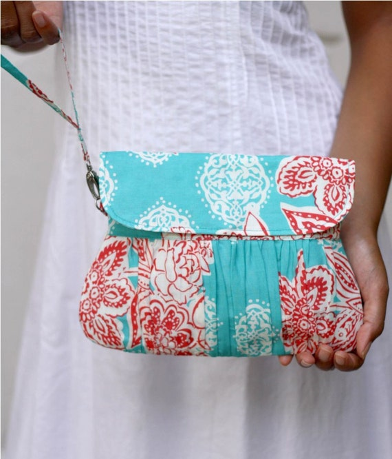 Pleated Wristlet/ Wristlet Purse, Aqua and Red, Ready to Ship