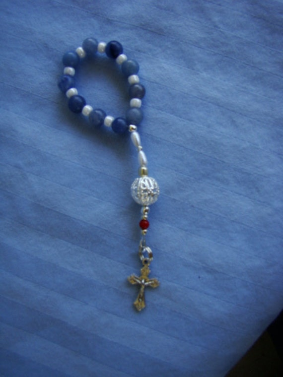 Roman Catholic Pocket Rosary (Blue Aventurine Ave and Silver Filligree Pater Beads)