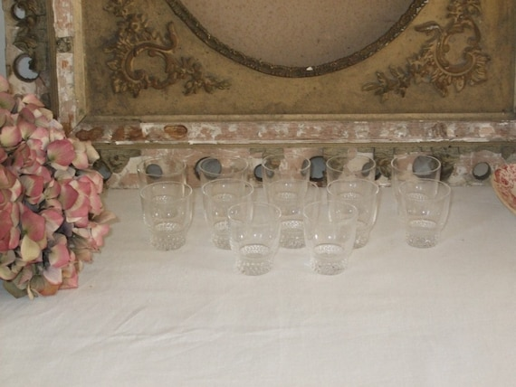 Beautiful French vintage chic set of 12 shot, tot, nip glasses.