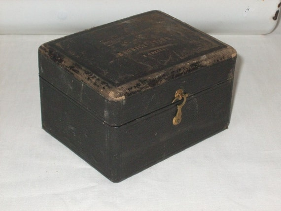 Vintage French  very old box with leather top and inscription