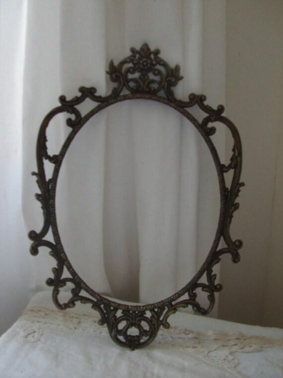 Vintage French large old ornate metal frame