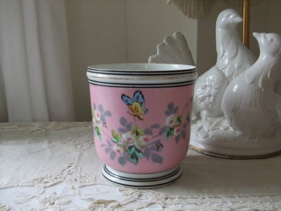 A vintage French country cottage flower pot .  Cottage chic