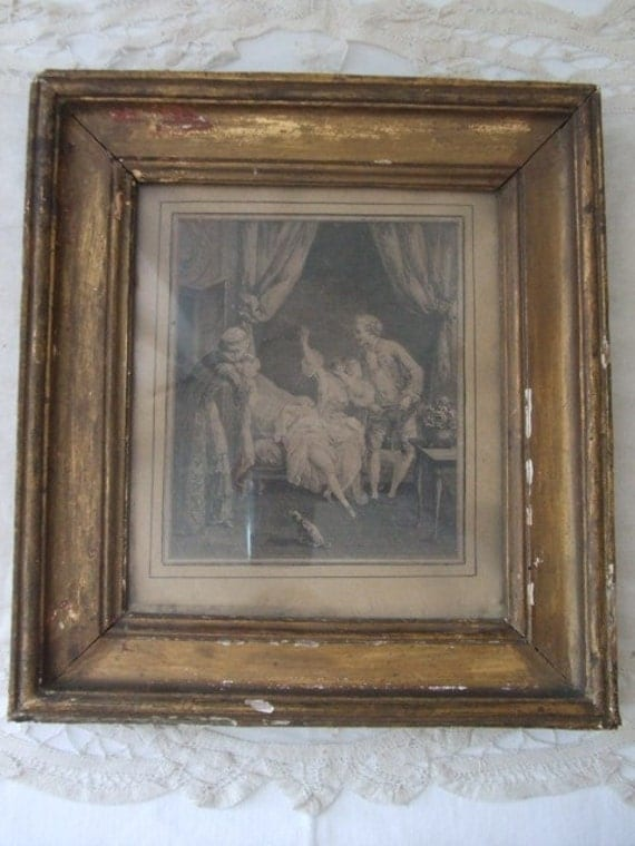 Antique French Gravure - in very old gold coloured frame.