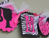Barbie Silhouette Name Banner in Hot Pink Black and Zebra