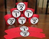 24 Cupcake Wrappers Dr. Seuss Theme Thing 1 and Thing 2  Perfect for Twin Baby Shower
