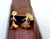 The Two Lovers, Brass Handmade  Ear studs, Romantic earrings, Love Earrings, Kina Grannis
