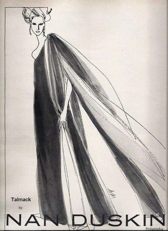 60s Wall Art Vogue Magazine Ad 1966 Fashion Ad Illustration Talmack for Nan Duskin Philadelphia