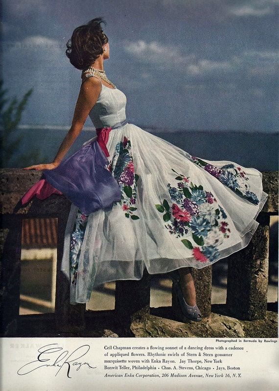 1940 S Wall Art Vogue Fashion Magazine Ad Home By Oldpapershop