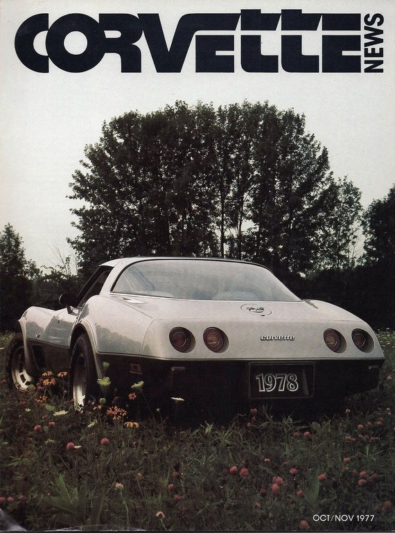 70s Mens Car Magazine Corvette News Oct Nov 1977 Vintage Paper Ephemera Guy Gift Collectible Car Racing