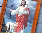 Paint by Number Jesus the Shepherd with Lambs, framed and ready to hang for your retro home - religious art original oil painting
