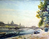 1920s Original watercolor painting, titled & signed by listed french Artist Gabriel Brun Buisson - Rive de la Seine dated 1926 in Paris