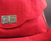 Bold Red Wool Purse with Chrome Accents