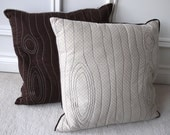 """Eco friendly stitched wood grain """"faux bois"""" decorative pillow cover, made from recycled fabric - beige print"""
