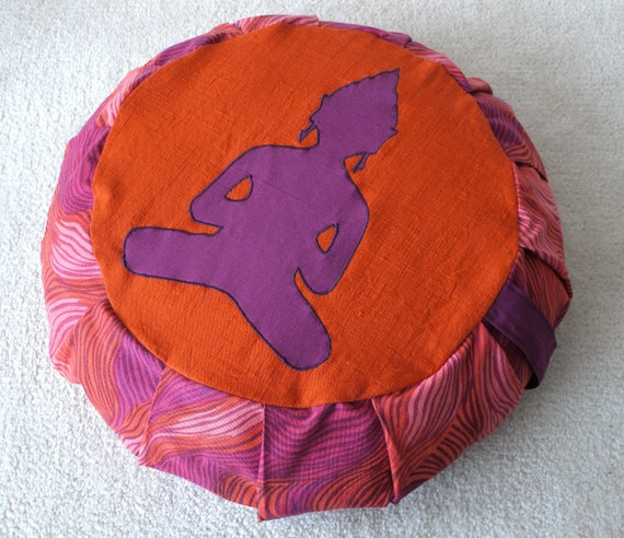 Colorful buddha meditation cushion / zafu (COVER ONLY) in orange and fuchsia tones, made from recycled fabric