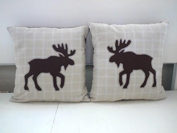 Decorative Moose Pillows : Cottage / cabin decor: mini moose appliqued pillow