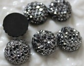 25pcs.. 8mm Sparkly Round Cut Bead in Shiny Grey