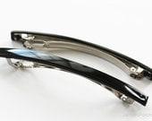 10pcs of 100mm Shiny Black Acrylic Shell Beveled French Barrette Hair Clips