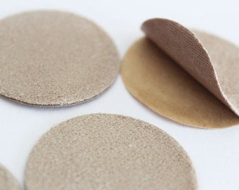 Faux Suede Adhesive Backing Circle Shape Sticker Patch  35mm in Beige(Light Brown) 50pcs