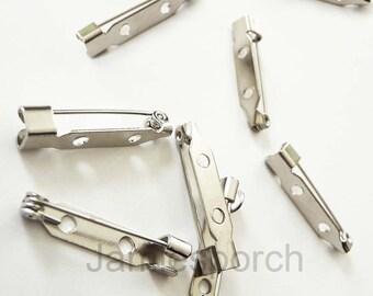 Set of 50pcs 25mm Silver Color Bar Pin Back..