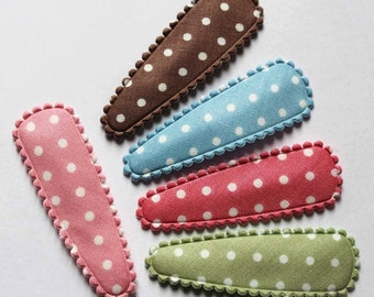 SALE Price Reduced  25pcs Medium Polka Dot Snap Clip Covers for 50mm Hair clips in 5 colors(Brown, Lt Blue, DK Pink, Green, LT Pink)