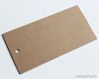 "100pcs 80mmX40mm(3 3/16"" X1 9/16"")Brown Kraft Paper Card Hang Tag for Jewelry, Garment, Homemade Food and Accessories"