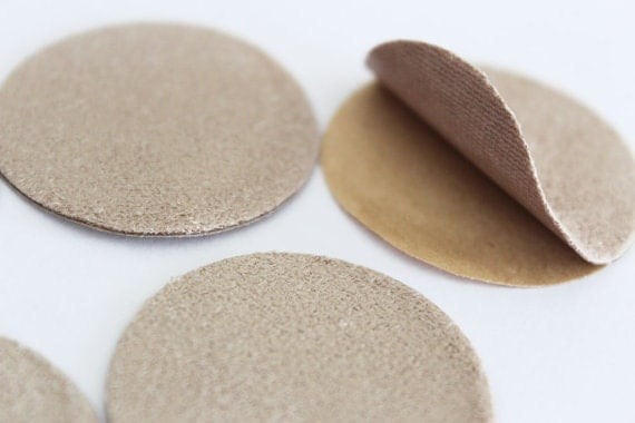 50pcs 35mm Faux Suede Adhesive Backing Circle Shape Stickers in Beige(Light Brown)