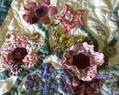 Garden Quilt Appliqued  Pocket Full of Posies & Table decor in Blues, Creams, Soft Pinks ...A Pocket Full Of Posies