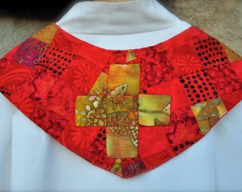 Pentecost Clergy Stoles In Red and Gold Batiks