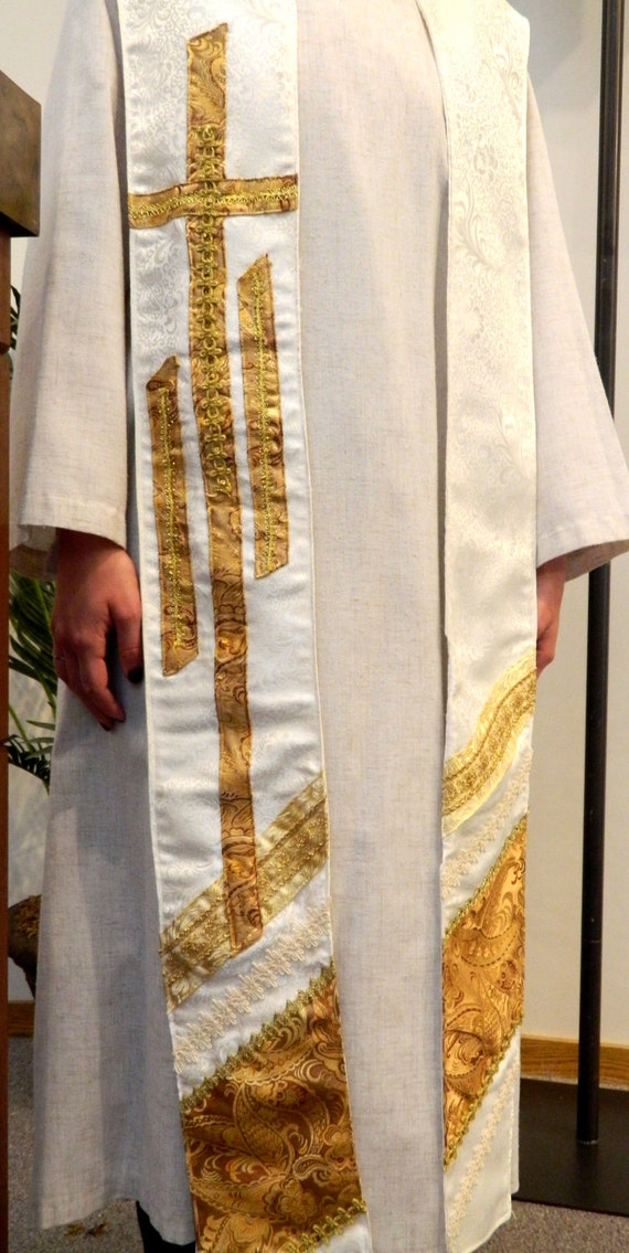 The Resurrection Clergy Stole  White and Gold for Easter, Weddings, Holy Days, Baptism -