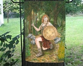 Celtic Warrior Woman, Ogham Shield Garden Flag