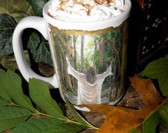 Grove Tree Art Druid Taliesin Celtic Ogham, 15 oz Coffee Mug