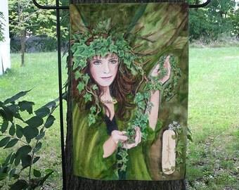 Ivy Card,  Celtic Ogham Garden Flag