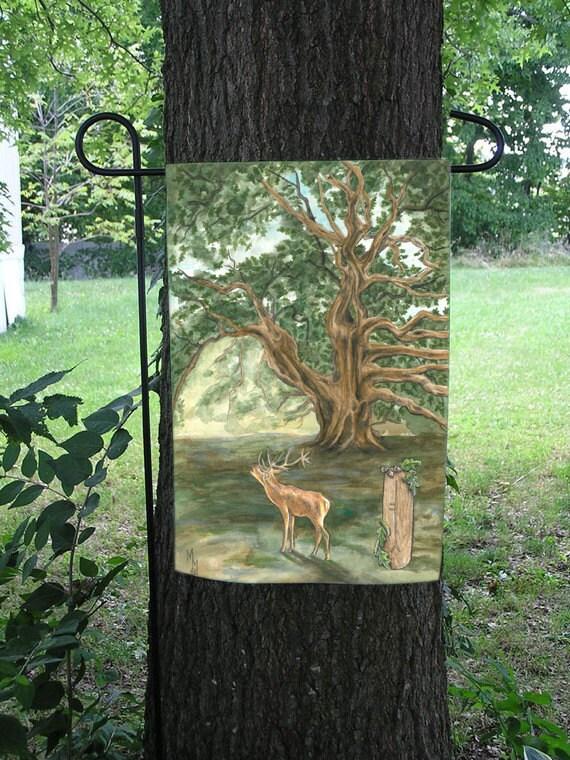Oak Tree and Stag Celtic Ogham Garden Flag