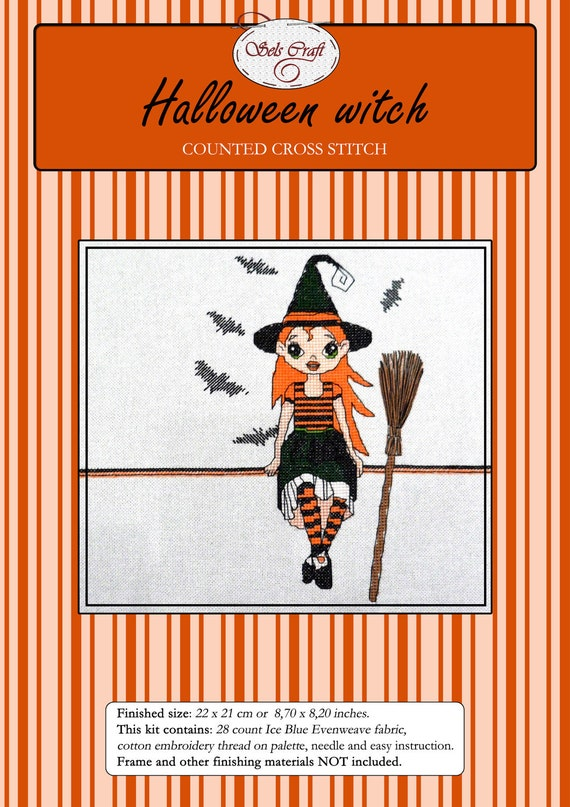HALLOWEEN WITCH counted cross stitch kit