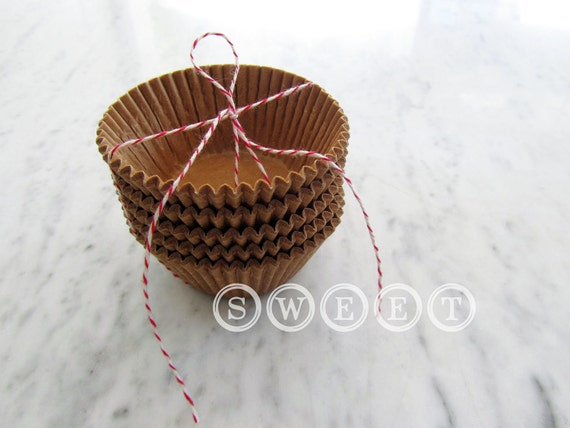 100 ct Unbleached Natural Kraft Brown Paper Cupcake Liners, Baking Cups - Eco Friendly