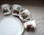 Antique Cars on Staffordshire  tea cups with luncheon plates. Set of Four.