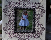 Distressed Painted Wood Frame- AntiqueWhite, Plum and Steel Grey- 8x10
