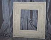 Large Ornate Antique Frame or Corkboard Option- Old White- 16x20