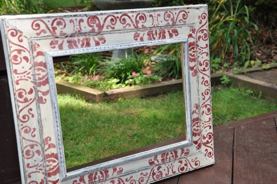 Distressed Painted Wood Frame- Red and Cream Damask- 11 x 14