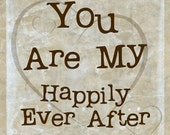 Love Happily Ever After Wedding Romance Modern Decor Gift for Him Her Wedding Gift Anniversary Typography Brown Tan, 8 x 8 Word Art Print