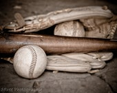Baseball, Baseball Glove, Baseball Bat, Boys Room, Bar Decor,  Rustic, Vintage Feel, Brown, White, For Him, 12 x 18 Fine Art Photography - ShadetreePhotography