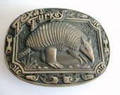 Armadillo Belt Buckle - Texas Turkey - Award Design Medals Inc - Solid Brass - RARE - jenetsy