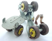 Metal Roller Skates - Vintage Yellow Wheels - Leather Strap - Vintage Wedding - wlv t