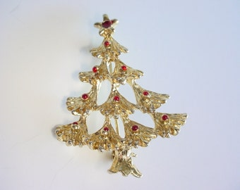 SALE-Christmas Tree Brooch - Gold Tone - Garnet Colored Stones - Pin Clasp