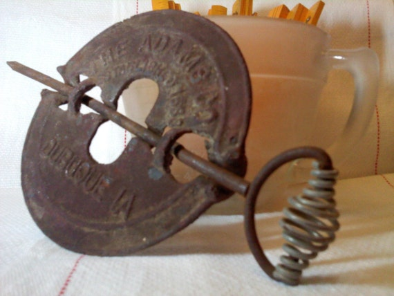 Iron Stove Damper - Vintage - The Adams Co Dubuque IA Established 1888